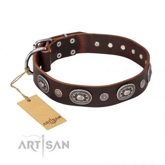 """Extra Pizzazz"" FDT Artisan Adorned Brown Leather Bulldog Collar"