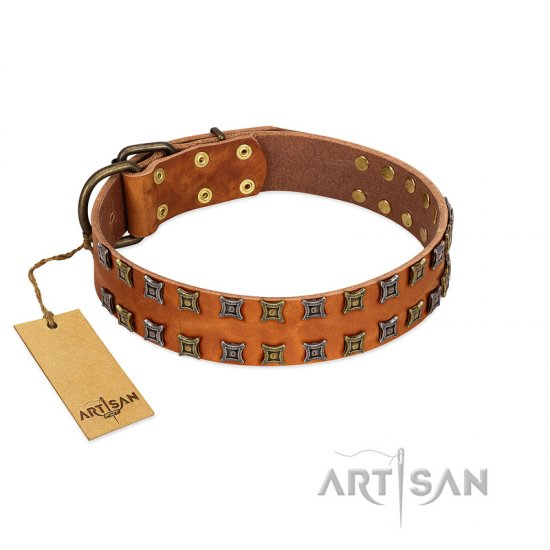 """Terra-cotta"" FDT Artisan Tan Leather Bulldog Collar with Two Rows of Studs"