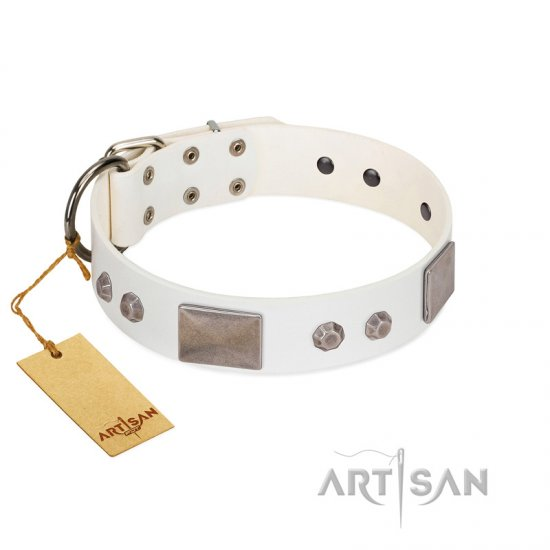 """Northen Lights"" FDT Artisan White Leather Bulldog Collar with Massive Plates and Pyramids"