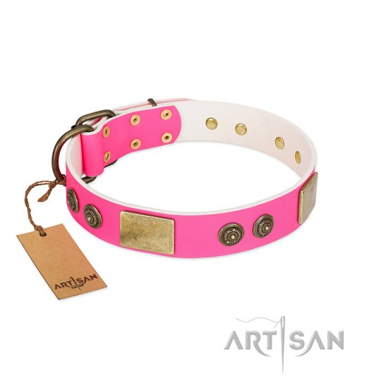 """Queen's Whim"" FDT Artisan Fancy Walking Pink Leather Bulldog Collar Adorned with Old Bronze-like Plates and Studs"