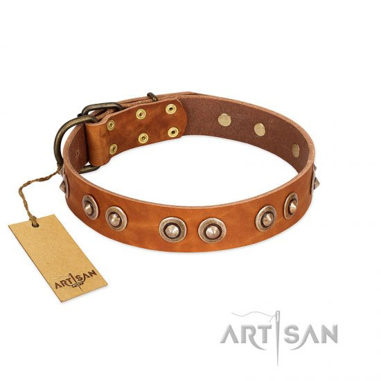 """Precious Relic"" FDT Artisan Tan Leather Bulldog Collar Adorned with Old Bronze Look Studs"