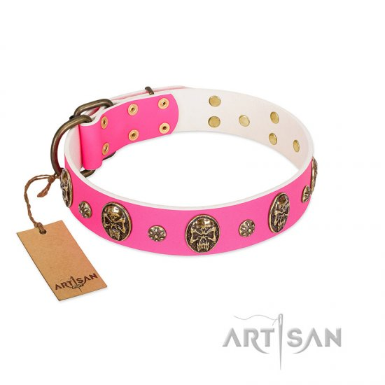 """Fashion Show"" FDT Artisan Pink Leather Bulldog Collar with Old Bronze-like Skulls and Studs"
