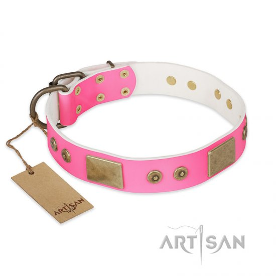"""Pink World"" FDT Artisan Pink Leather Bulldog Collar with Old Bronze Look Plates and Studs"