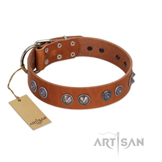 """Silver Necklace"" Incredible FDT Artisan Tan Leather Bulldog Colar with Silver-Like Adornments"