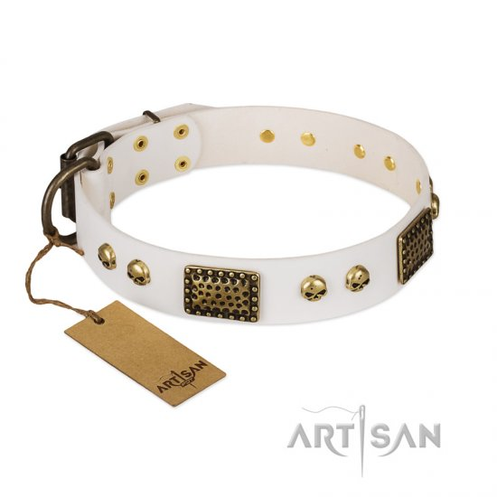 """Lost Treasures"" FDT Artisan White Leather Bulldog Collar with Old Bronze Look Plates and Skulls"