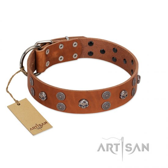 """Road Rider"" FDT Artisan Tan Leather Bulldog Collar with Old Silver-like Skulls and Medallions"