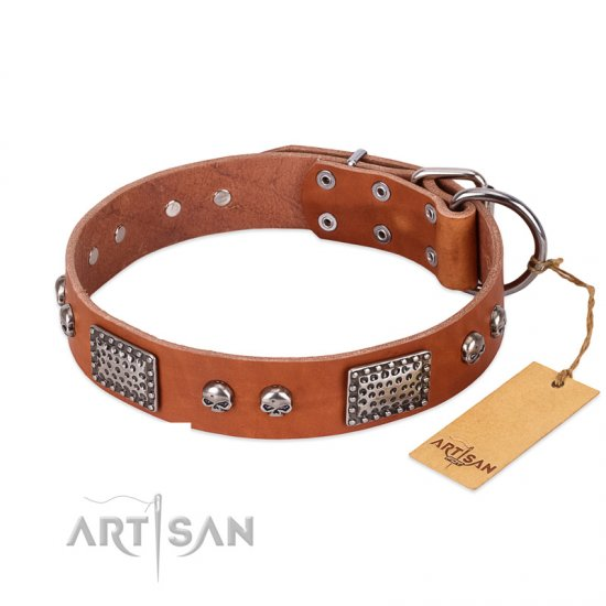 """Sparkling Skull"" FDT Artisan Tan Leather Bulldog Collar with Old Silver Look Plates and Skulls"