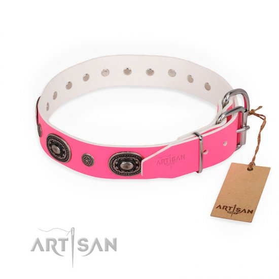 """Flavor of Strawberry"" FDT Artisan Flashy Pink Leather Bulldog Collar"