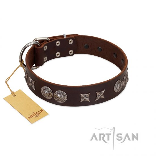 """Antique Style"" Designer Handmade FDT Artisan Brown Leather Bulldog Collar"