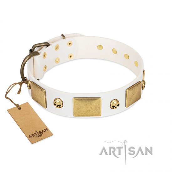 """Inspiration"" FDT Artisan White Leather Bulldog Collar with Antiqued Skulls and Plates"