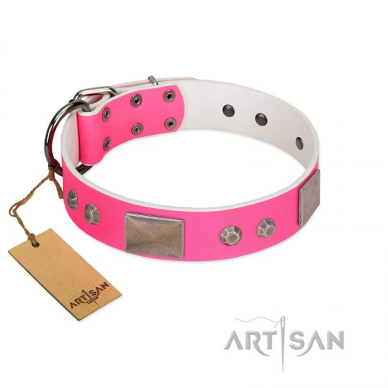 """Pink Blush"" Premium Quality FDT Artisan Pink Designer Bulldog Collar with Plates and Studs"