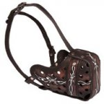 """Barbed Wire"" Painted Leather American Bulldog Muzzle for Agitation Training"