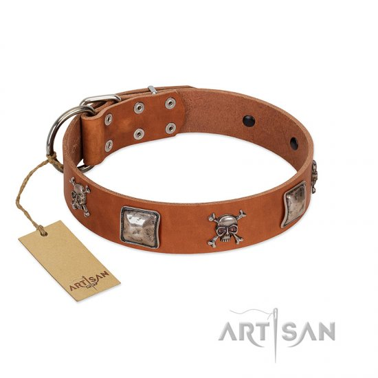 """Amorous Escapade"" Embellished FDT Artisan Tan Leather Bulldog Collar with Chrome Plated Crossbones and Plates"