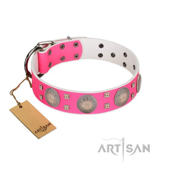 """Sunny Star"" Designer Handmade FDT Artisan Pink Leather Bulldog Collar"