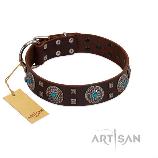 """Hypnotic Stones"" FDT Artisan Brown Leather Bulldog Collar with Chrome Plated Brooches and Square Studs"