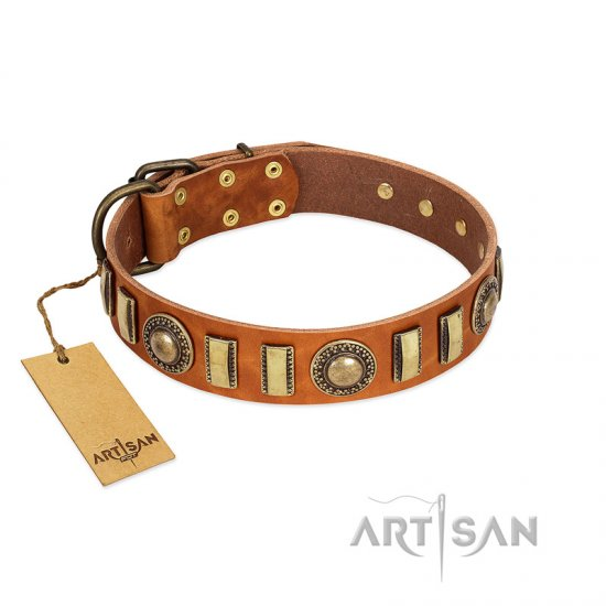 """Happy Hound"" FDT Artisan Tan Leather Bulldog Collar with Elegant Decorations"