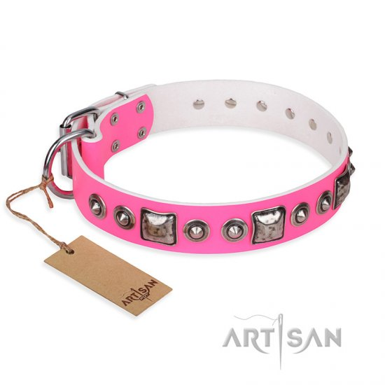 """Pink Dream"" FDT Artisan Leather Bulldog Collar with Silvery Decorations"