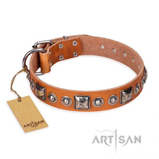 """Era of Future"" FDT Artisan Handcrafted Tan Leather Bulldog Collar with Decorations"