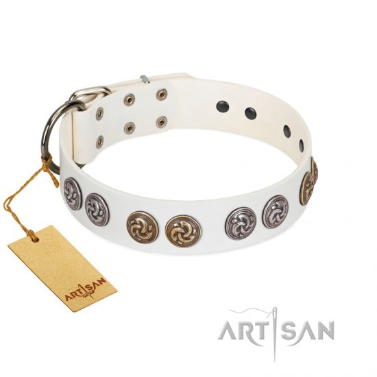 """White Moonlight"" FDT Artisan White Leather Bulldog Collar with Elegant Decorations"