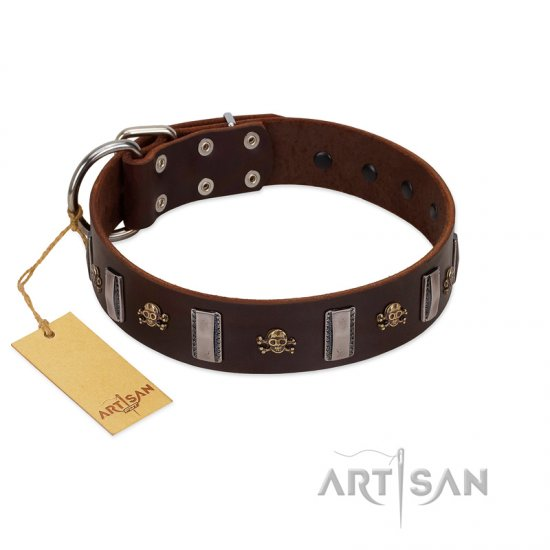 """War Chief"" FDT Artisan Genuine Brown Leather Bulldog Collar with Skulls and Plates"