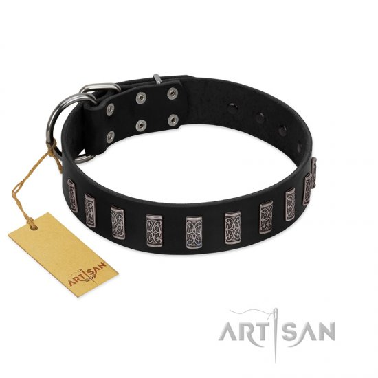 """Black Prince"" Handmade FDT Artisan Black Leather Bulldog Collar with Silver-Like Adornments"