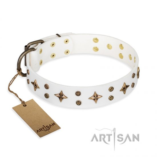 'Bright stars' FDT Artisan White Leather Bulldog Collar with Old Bronze Look Decorations - 1 1/2 inch (40 mm) wide