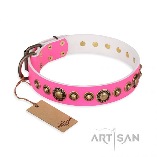 """Pink Gloss"" FDT Artisan Leather Bulldog Collar with Old-Bronze Plated Circles and Studs"