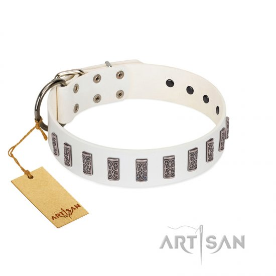 """Heaven's Gates"" Handmade FDT Artisan White Leather Bulldog Collar with Silver-Like Engraved Plates"