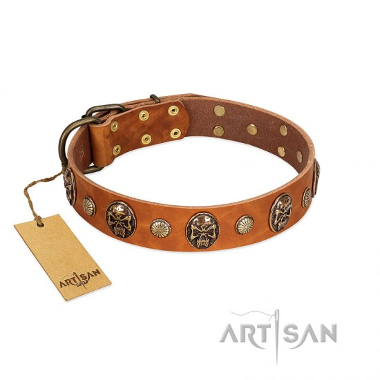 """Call of Feat"" FDT Artisan Tan Leather Bulldog Collar with Old Bronze-like Studs and Oval Brooches"