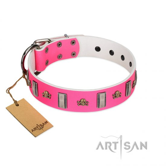 """Sea Dog"" Trendy FDT Artisan Pink Leather Bulldog Collar with Plates and Skulls"