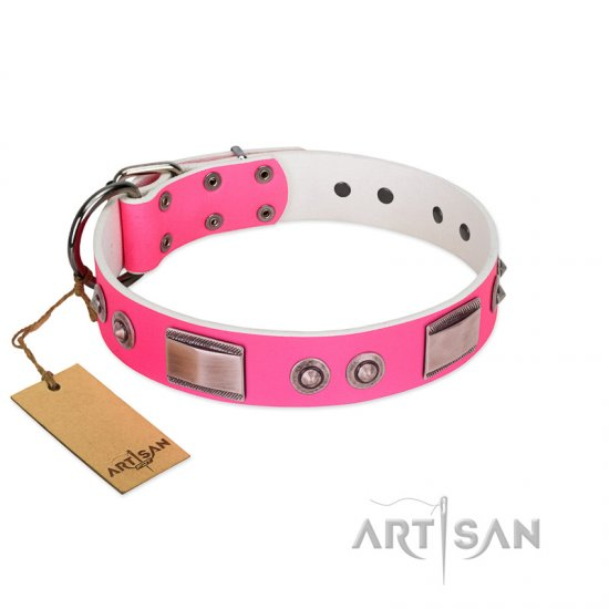 """Lady's Whim"" FDT Artisan Pink Leather Bulldog Collar with Plates and Spiked Studs"