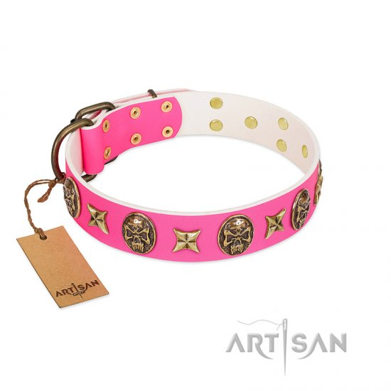 """Fashion Ecstasy"" FDT Artisan Pink Leather Bulldog Collar with Bronze-like Plated Stars and Skulls"