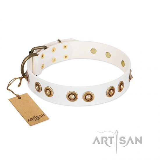 """Moonlit Stroll"" FDT Artisan White Leather Bulldog Collar with Antique Decorations"