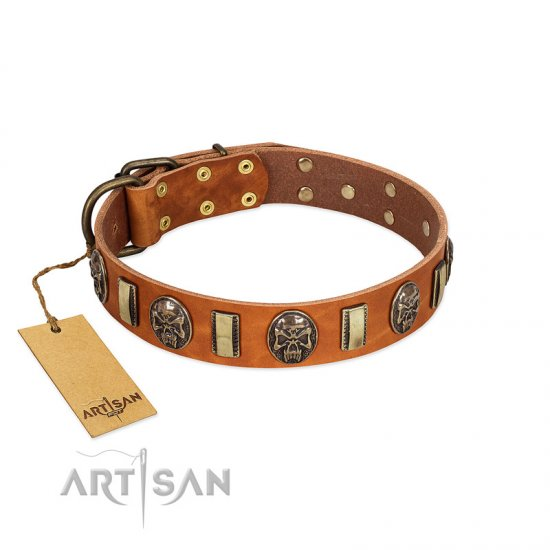 """Strike of Rock"" FDT Artisan Tan Leather Bulldog Collar with Plates and Medallions with Skulls"