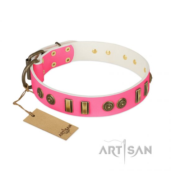 """Pink Amulet"" FDT Artisan Leather Bulldog Collar with Old Bronze-like Plates and Circles"