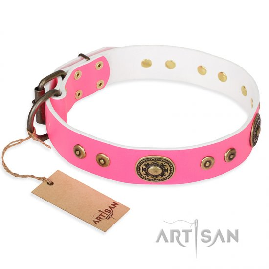 """Pink Pearl"" FDT Artisan Leather Bulldog Collar for Real Ladies"