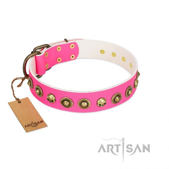 """Pawty Time"" FDT Artisan Pink Leather Bulldog Collar with Decorative Skulls and Brooches"