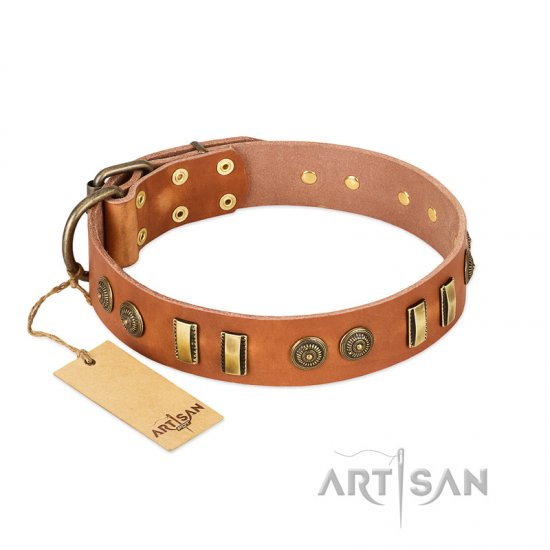 """Natural Beauty"" FDT Artisan Tan Leather Bulldog Collar with Old Bronze-like Circles and Plates"