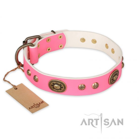 """Sensational Beauty"" FDT Artisan Pink Leather Bulldog Collar with Old Bronze Look Plates and Studs"