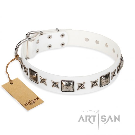 """Intergalactic Travelling"" FDT Artisan Handcrafted White Leather Bulldog Collar"
