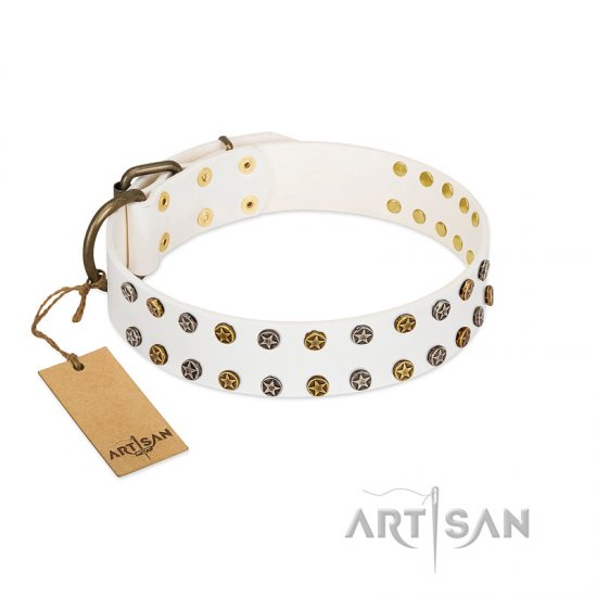"""Crystal Night"" FDT Artisan White Leather Bulldog Collar with Two Rows of Small Studs"