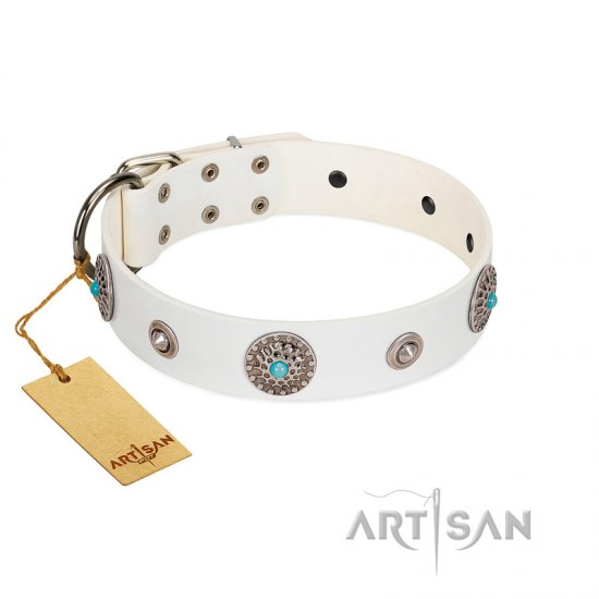 """Lush Life"" Designer Handcrafted FDT Artisan White Leather Bulldog Collar with Blue Stones"