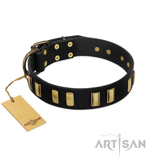 """Glorious Night"" FDT Artisan Decorated Black Leather Bulldog Collar"