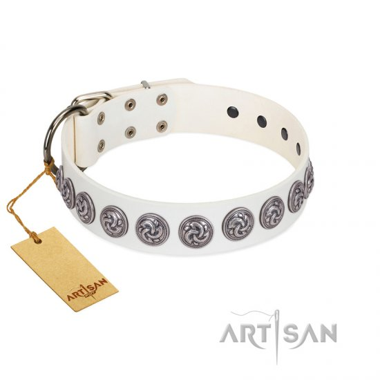 """Bohemian Spirit"" Handmade FDT Artisan White Leather Bulldog Collar with Vintage Decorations"