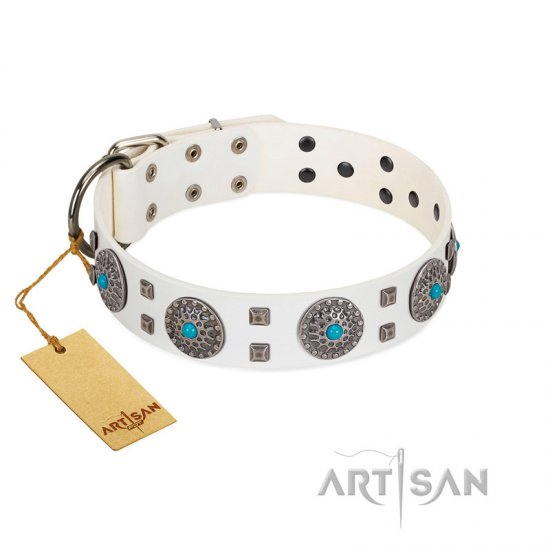 """Blue Sapphire"" Designer FDT Artisan White Leather Bulldog Collar with Round Plates and Square Studs"