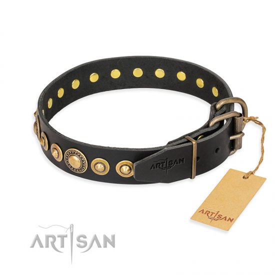 """Gold Mine"" FDT Artisan Black Leather Bulldog Collar with Amazing Bronze-Plated Round Studs"