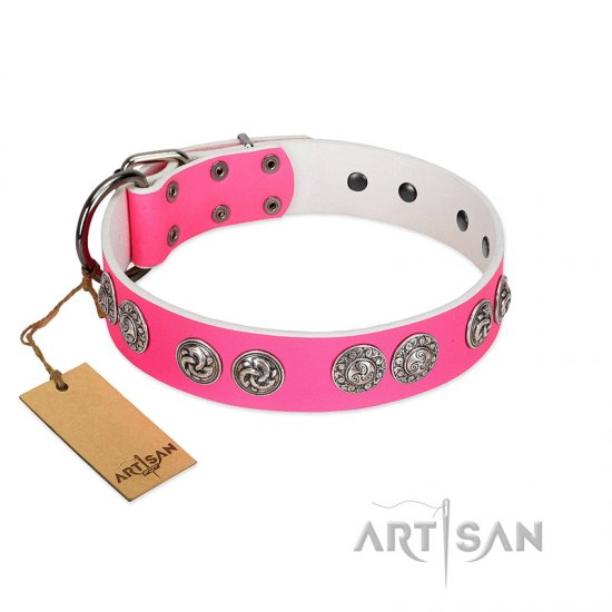 """Periapt of Power"" FDT Artisan Pink Leather Bulldog Collar with Chrome Plated Medallions"