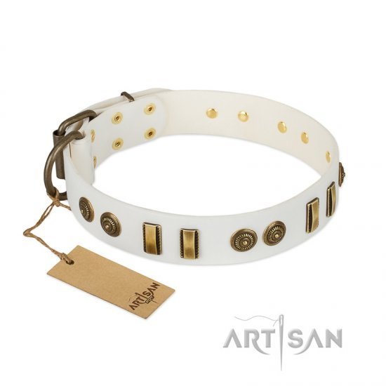"""Midsummer Snow"" FDT Artisan White Leather Bulldog Collar with Old Bronze-like Plates and Circles"