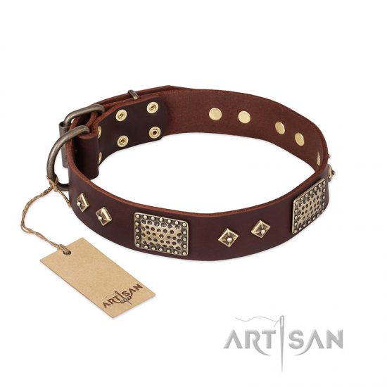"""Loving Owner"" FDT Artisan Decorated Leather Bulldog Collar with Plates and Studs"