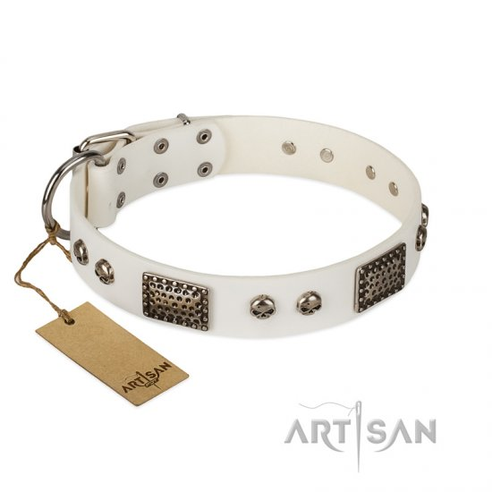 """Terrific Beauty"" FDT Artisan Beguiling White Leather Bulldog Collar"